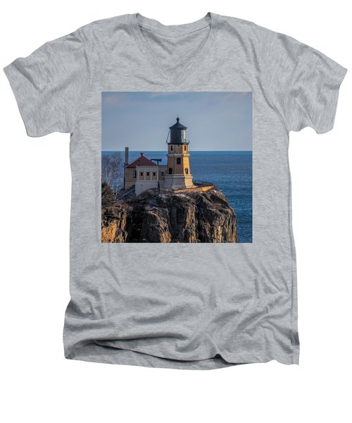 Sunlight On Split Rock Lighthouse Men's V-Neck T-Shirt by Paul Freidlund