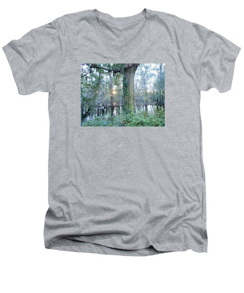 Men's V-Neck T-Shirt featuring the photograph Sunlight On The Edisto River by Kay Gilley