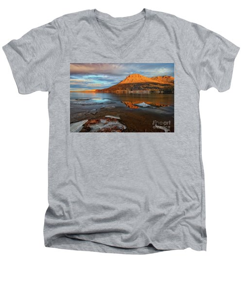 Sunlight On The Flatirons Reservoir Men's V-Neck T-Shirt by Ronda Kimbrow