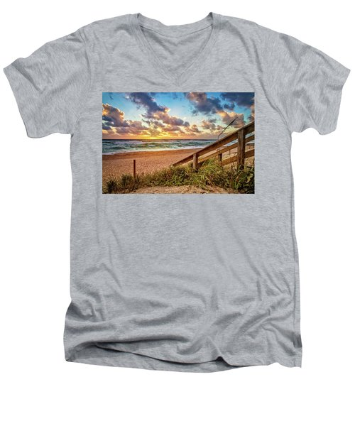 Men's V-Neck T-Shirt featuring the photograph Sunlight On The Sand by Debra and Dave Vanderlaan