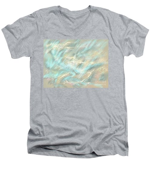 Men's V-Neck T-Shirt featuring the digital art Sunlight On Water by Amyla Silverflame