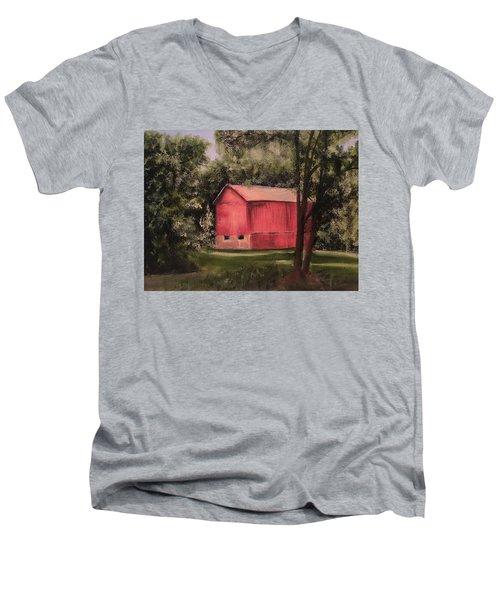 Sunlit Barn Men's V-Neck T-Shirt by Sharon Schultz