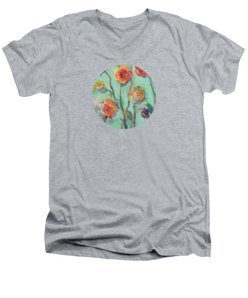 Men's V-Neck T-Shirt featuring the painting Sunlit Garden by Mary Wolf