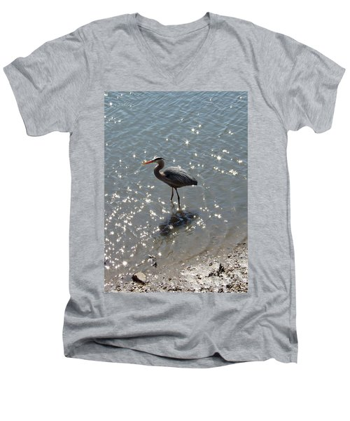 Sunlit Heron Men's V-Neck T-Shirt by Carol  Bradley