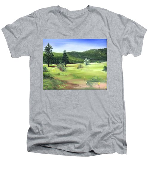 Men's V-Neck T-Shirt featuring the painting Sunlit Mountain Meadow by Jane Autry