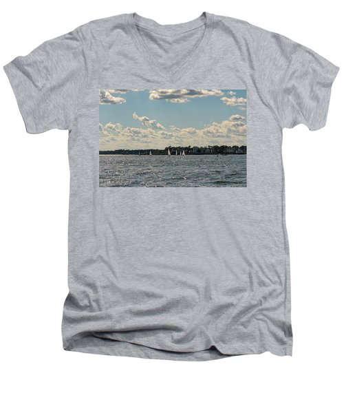 Sunlit Sailboats Norwalk Connecticut From The Water Men's V-Neck T-Shirt