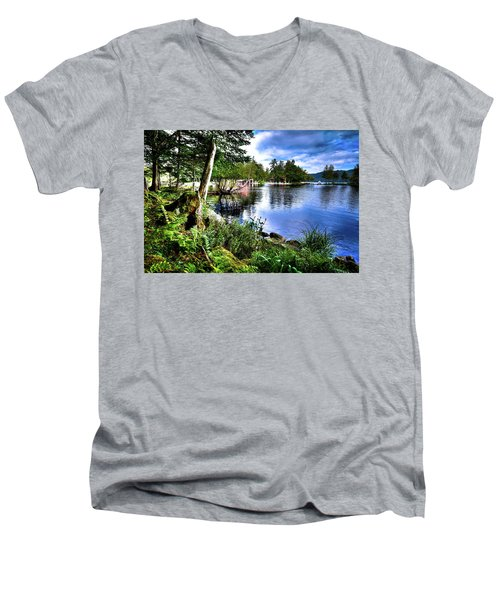 Men's V-Neck T-Shirt featuring the photograph Sunlit Shore At Covewood by David Patterson