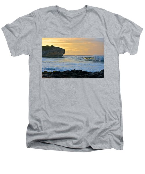 Sunlit Waves - Kauai Dawn Men's V-Neck T-Shirt by Marie Hicks