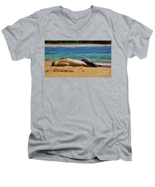 Sunning On The Beach In Hawaii Men's V-Neck T-Shirt by Craig Wood
