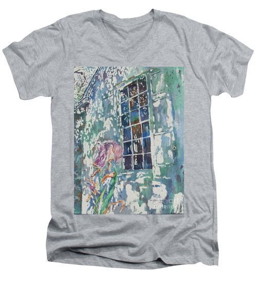Men's V-Neck T-Shirt featuring the painting Sunny Day At Brandywine by Mary Haley-Rocks