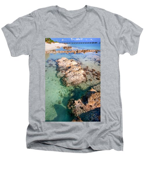Men's V-Neck T-Shirt featuring the photograph Sunny Day At Maldivian Resort by Jenny Rainbow
