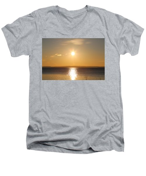Sunny Day By The Oslo Fjords.  Men's V-Neck T-Shirt