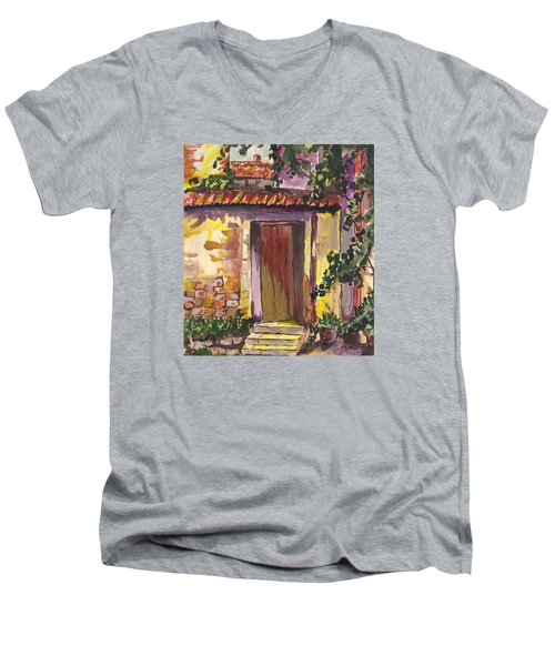 Men's V-Neck T-Shirt featuring the digital art Sunny Doorway by Darren Cannell