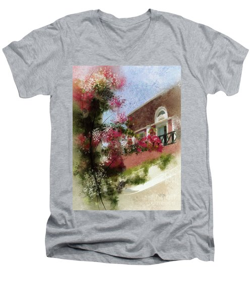 Men's V-Neck T-Shirt featuring the photograph Sunny Santorini by Lois Bryan