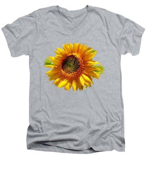 Sunny Sunflower Square Men's V-Neck T-Shirt by Christina Rollo