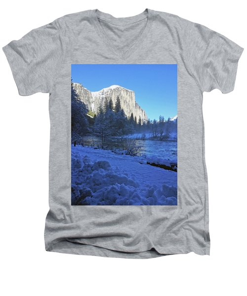 Men's V-Neck T-Shirt featuring the photograph Sunny Winter Day 01 13 17 by Walter Fahmy