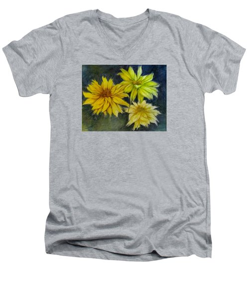 Sunny Yellow Men's V-Neck T-Shirt by Barbara O'Toole