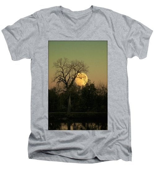 Men's V-Neck T-Shirt featuring the photograph November Supermoon  by Chris Berry