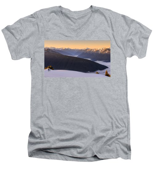 Men's V-Neck T-Shirt featuring the photograph Sunrise Above The Clouds by Dan Mihai