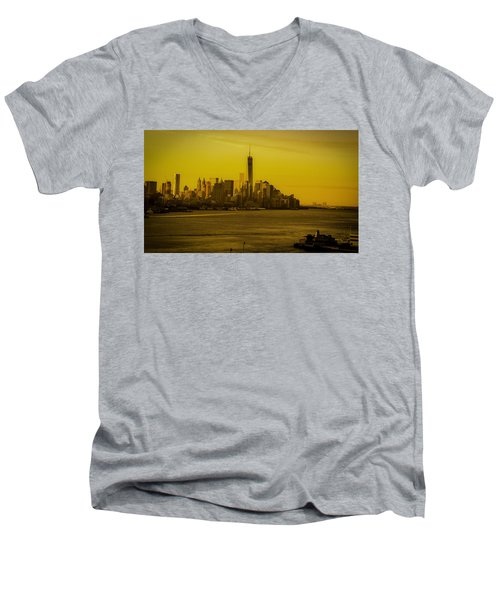 Sunrise Across The Hudson Men's V-Neck T-Shirt