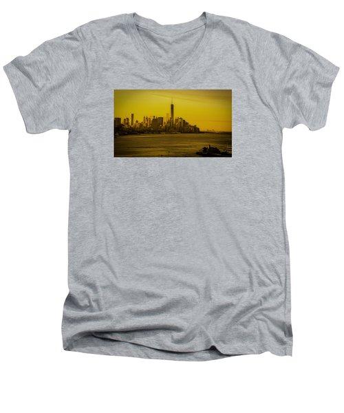 Sunrise Across The Hudson Men's V-Neck T-Shirt