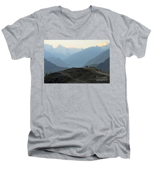 Sunrise Among The Karakoram Mountains In Hunza Valley Pakistan Men's V-Neck T-Shirt