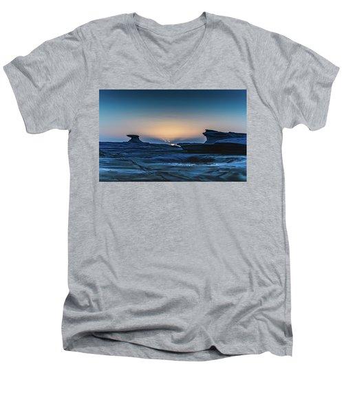 Sunrise And Rock Platform Landscape Men's V-Neck T-Shirt