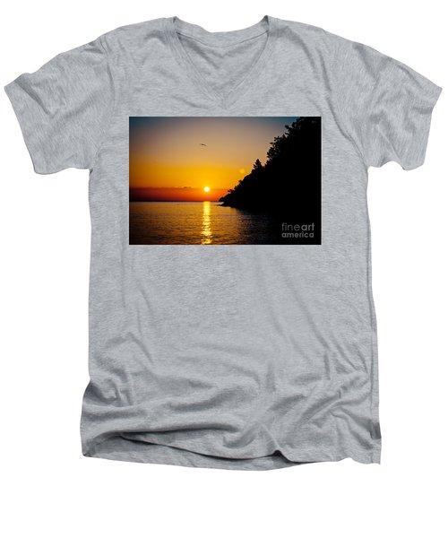 Sunrise And Seascape Orange Color Men's V-Neck T-Shirt