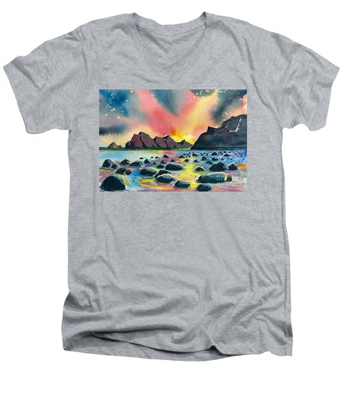 Sunrise And Water Men's V-Neck T-Shirt