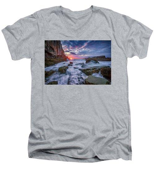 Sunrise At Bald Head Cliff Men's V-Neck T-Shirt by Rick Berk