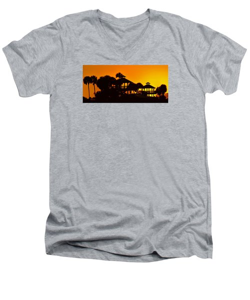 Men's V-Neck T-Shirt featuring the photograph Sunrise At Barefoot Park by Don Durfee