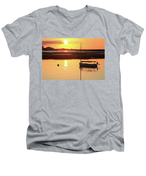 Men's V-Neck T-Shirt featuring the photograph Sunrise At Bass River by Roupen  Baker