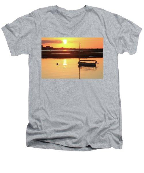 Sunrise At Bass River Men's V-Neck T-Shirt by Roupen  Baker