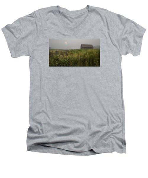 Sunrise At Black Sage Men's V-Neck T-Shirt by John Poon