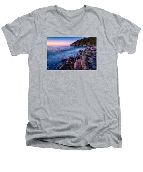 Sunrise At Boulder Beach Acadia Np Men's V-Neck T-Shirt