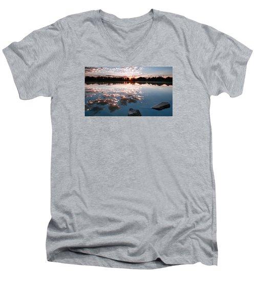 Men's V-Neck T-Shirt featuring the photograph Sunrise At Cattails Chorus Ponds by Monte Stevens