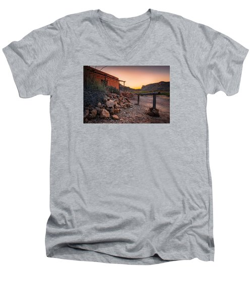 Sunrise At Contrabando Men's V-Neck T-Shirt by Allen Biedrzycki
