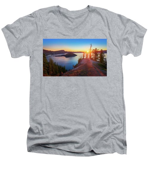 Sunrise At Crater Lake Men's V-Neck T-Shirt