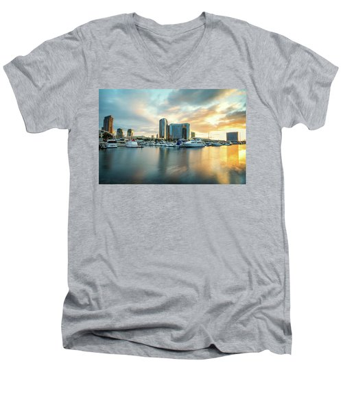 Sunrise At Embarcadero Men's V-Neck T-Shirt by Joseph S Giacalone
