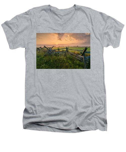 Sunrise At Gettysburg National Park Men's V-Neck T-Shirt by Craig Szymanski