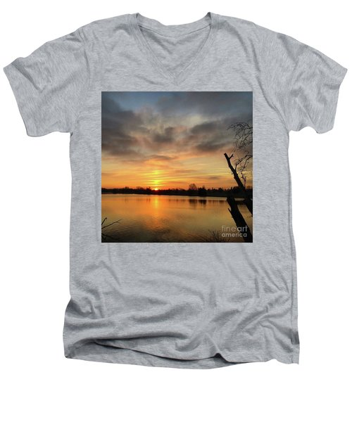 Men's V-Neck T-Shirt featuring the photograph Sunrise At Jacobson Lake by Sumoflam Photography