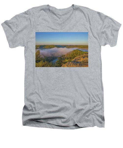 Sunrise At Mill Creek Lake. Men's V-Neck T-Shirt