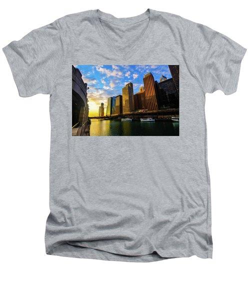 Sunrise At Navy Pier Men's V-Neck T-Shirt