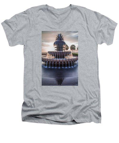 Sunrise At Pineapple Fountain Charleston Men's V-Neck T-Shirt