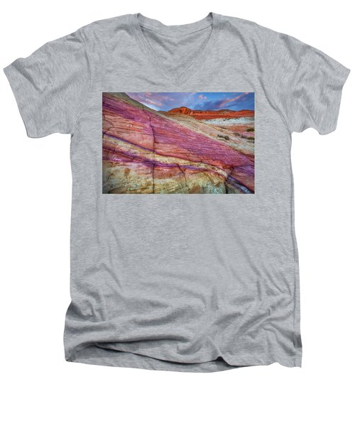 Men's V-Neck T-Shirt featuring the photograph Sunrise At Rainbow Rock by Darren White