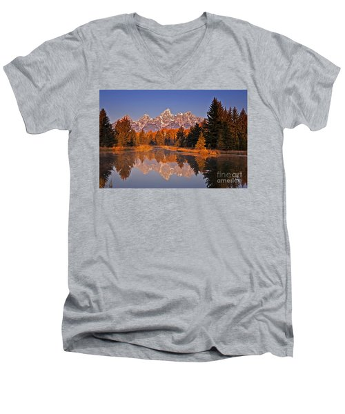 Sunrise At Schwabacher Landing  Men's V-Neck T-Shirt