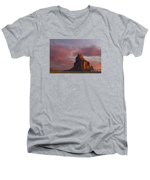 Sunrise At Shiprock New Mexico Men's V-Neck T-Shirt by Keith Kapple