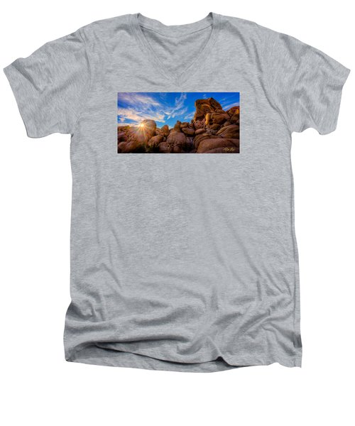 Men's V-Neck T-Shirt featuring the photograph Sunrise At Skull Rock by Rikk Flohr