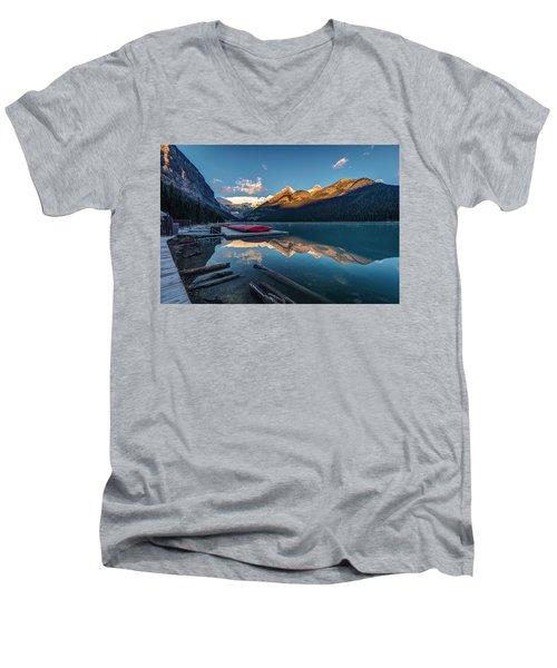 Sunrise At The Canoe Shack Of Lake Louise Men's V-Neck T-Shirt