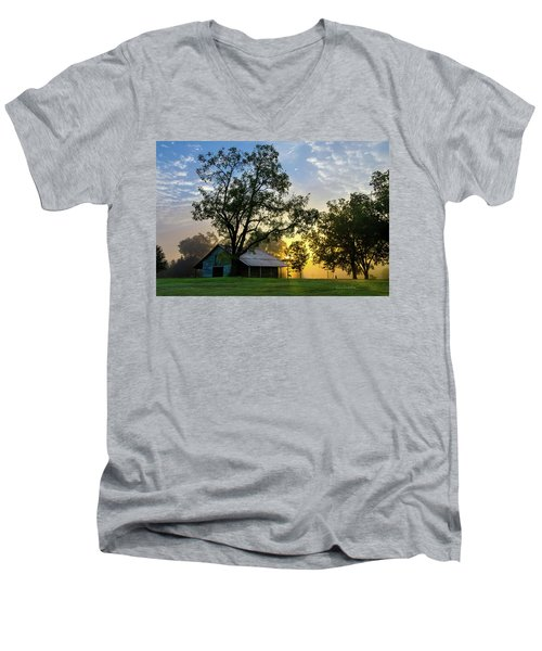 Men's V-Neck T-Shirt featuring the photograph Sunrise At The Farm by George Randy Bass